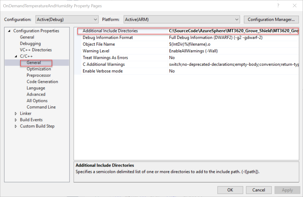 Add MT3620 path to 'Additional Include Directories' field