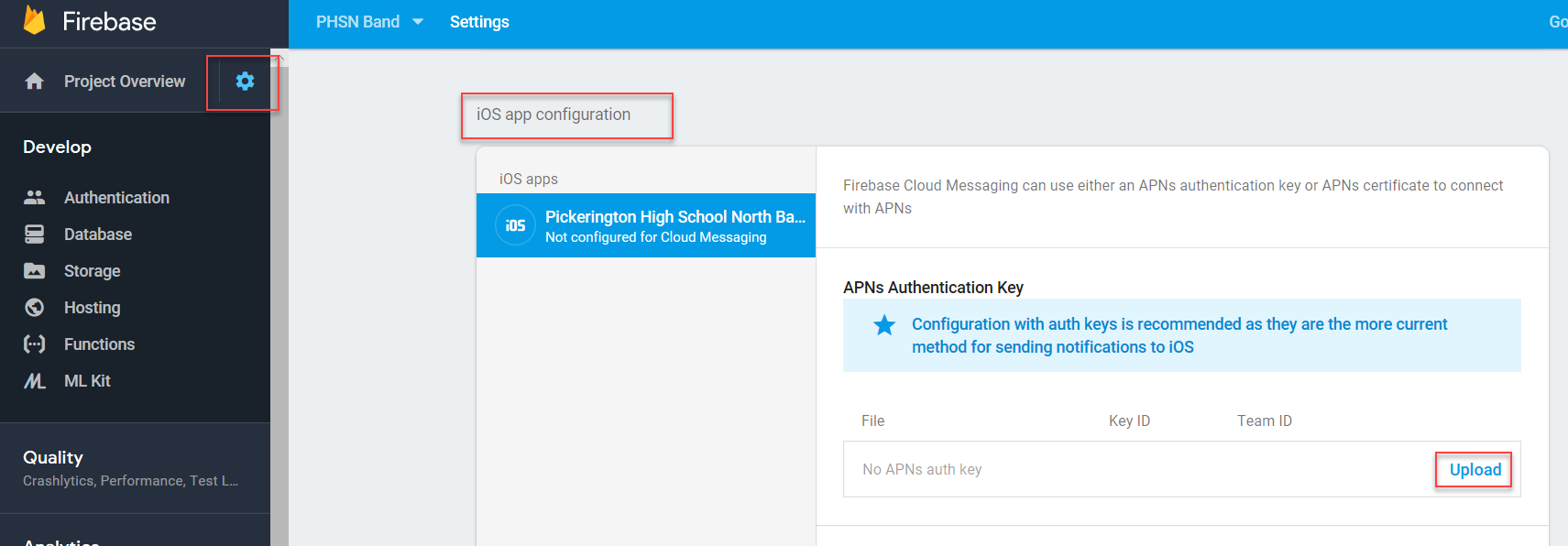 APNs Authentication Key Configuration