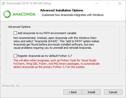 Anaconda Installation Options