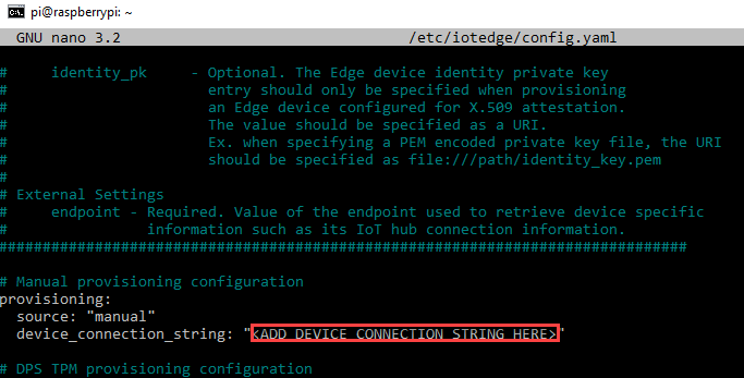 Configuring the IoT Edge Module with the Device Connection String