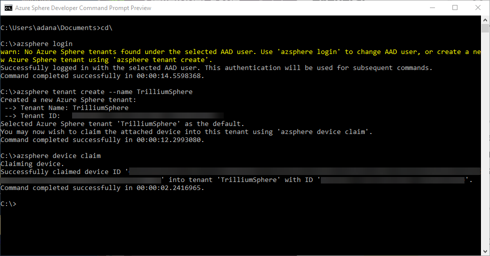 Create Tenant and Claim Device