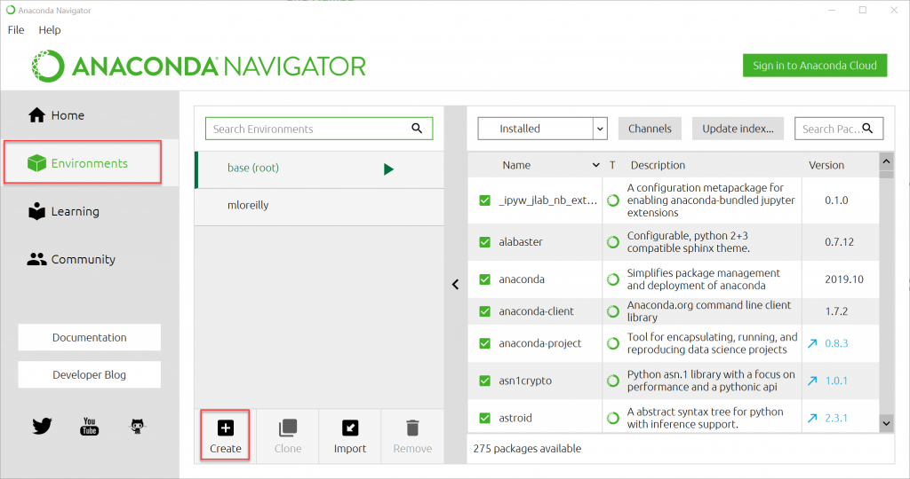 Anaconda Navigator Create Environment Menu