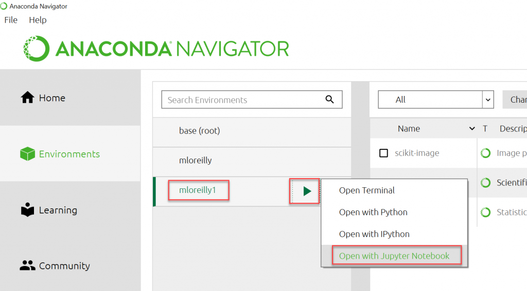 Anaconda Open Environment with Jupyter Notebook