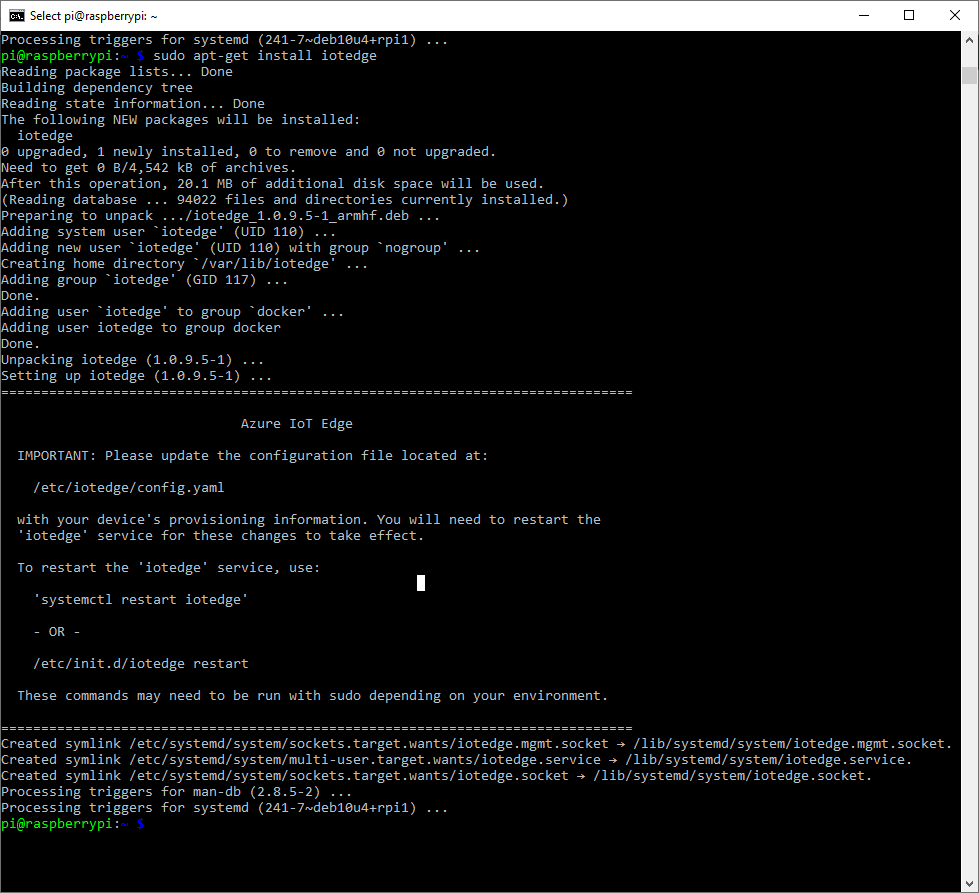 SSH Window showing installation of the iotedge package
