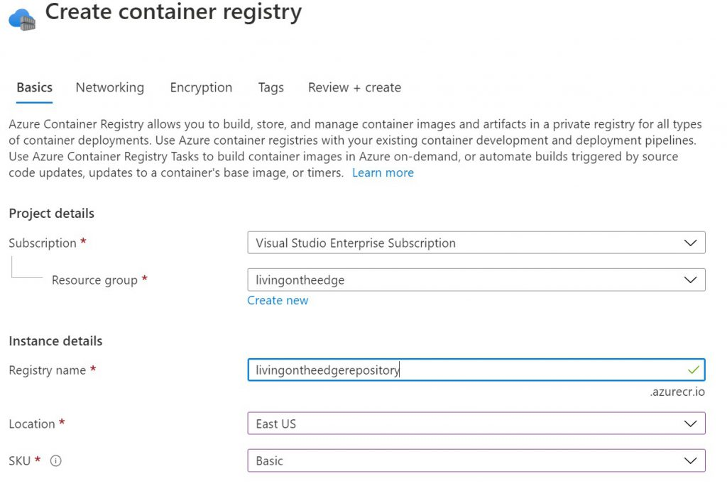 Create container registry form
