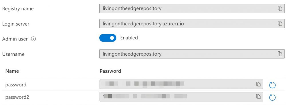 Container registry Access Keys